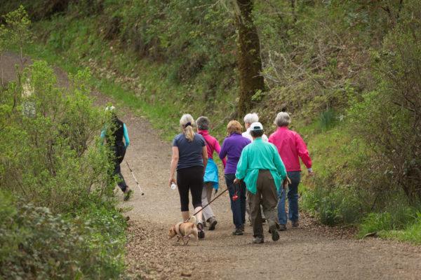 A group of women hike the path at Healdsburg Ridge