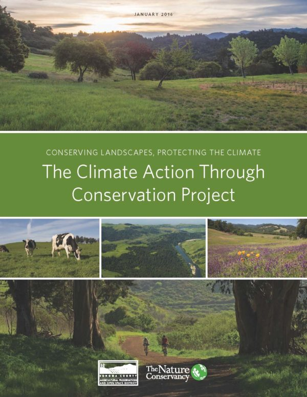 Conserving landscapes, protecting the climate. The Climate Action Through Conservation Project. Logos for Ag + Open Space and the Nature Conservancy.