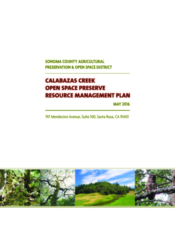 Calabazas Creek Open Space Preserve Resource Management Plan May 2016 - cover to report with text and photos