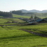 Rolling green hills overlooking a barn and buildings.