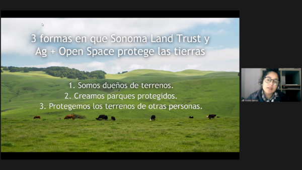 Zoom screenshot of Sonoma Land Trust instructor introducing a virtual field trip in Spanish.