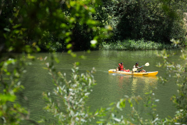 Two people on Russian River in a yellow kayak.