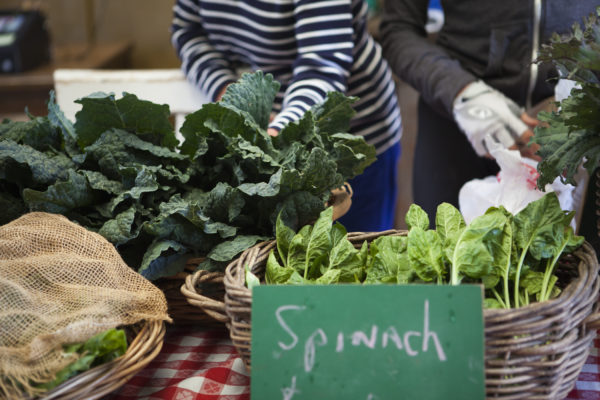 Close up of greens in baskets, being sold at a farmers market.