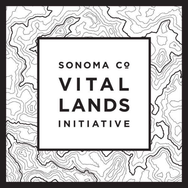 Logo that says Sonoma Co Vital Land Initiative with topographic lines in black and white around it.