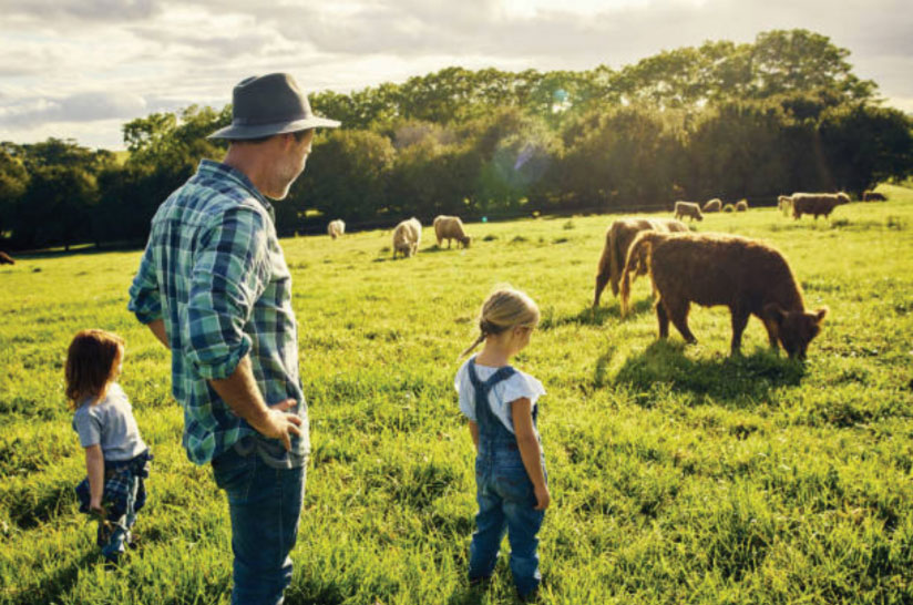 A rancher and his children looking at his cattle